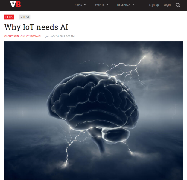 Why IoT needs AI   VentureBeat   Bots   by Chaney Ojinnaka  VendorMach.png